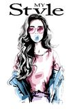 Hand drawn young woman with chewing gum. Beautiful woman portrait. Cute girl with long hair. Fashion woman in casual clothing. Sketch royalty free illustration