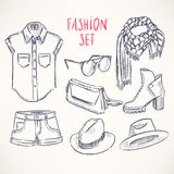 Hand-drawn youth clothing Stock Images