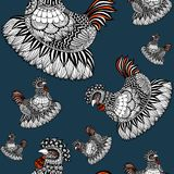 Hand drawn  Zen art of chicken in seamless pattern. Royalty Free Stock Images