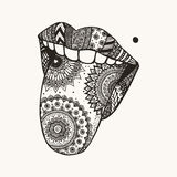 Hand drawn zendoodle woman tongue out for tattoo,T-Shirt design Stock Photography