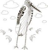 Hand drawn zentangle african marabou stork, black and white anti stress Royalty Free Stock Photo
