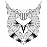 Hand drawn zentangle artistic Owl Bird for adult antistress colo Royalty Free Stock Photo