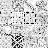 Hand drawn zentangle background for coloring page. Vector Adult Coloring Book Textures. various patterns. 16 pieces Royalty Free Stock Photo