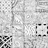 Hand drawn zentangle background for coloring page. Vector Adult Coloring Book Textures. various patterns. 16 pieces Stock Photo