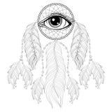Hand drawn zentangle bohemian Dreamcatcher with Eye, Native Amer Royalty Free Stock Photography