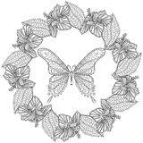Hand drawn zentangle Butterfly in wreath of Hibiskus flower for Stock Photos