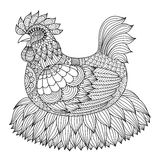 Hand drawn zentangle chicken  for coloring book for adult Stock Image