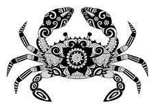 Hand drawn zentangle crab for coloring book for adult, tattoo, shirt design, logo and so on Stock Photos