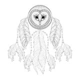 Hand drawn zentangle Dreamcatcher with tribal Owl face for adult Stock Photos