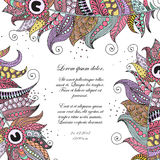 Hand drawn zentangle feather on white background. Hand drawn vintage invitation card made of feathers in zentangle, doodling style. Can be used for greeting card Royalty Free Stock Images