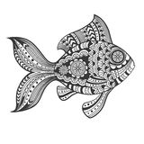 Hand drawn zentangle fish with ethnic pattern. Doodle art. Vector illustration Royalty Free Stock Photos