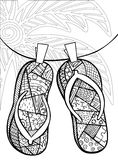 Hand drawn zentangle of flip flops for coloring book. Hand drawn zentangle of flip flops at the beach for coloring book Royalty Free Stock Photos