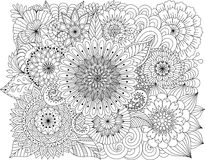 Hand drawn zentangle floral background for coloring page Stock Photo