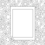Hand drawn zentangle floral doodles with frame. Tribal style for adult coloring book. Vector illustration eps 10 for your design Royalty Free Stock Photography