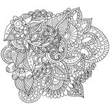 Hand drawn zentangle flowers and leaves for adult anti stress. Coloring page with high details  on white background. Zentangle pattern for relax and meditation Stock Photo