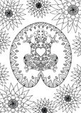 Hand drawn zentangle frog sitting on the lotus leaf design for adult coloring book page, anti stress, t shirt design and so on. Ve Royalty Free Stock Photography