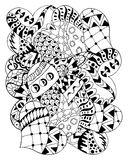 Hand drawn zentangle hearts for adult anti stress. vector illustration