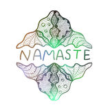 Hand drawn zentangle logo on blurred background. Namaste. Suitable for ethnic shops, yoga studios, travel agencies, ads, signboards, identity designs Royalty Free Stock Photo