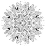Hand drawn zentangle mandala for coloring page. royalty free illustration