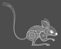 Hand drawn zentangle mouse totem for adult anti-stress Coloring Stock Images