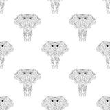 Hand drawn zentangle Ornamental Elephant seamless pattern for ad. Ult coloring pages, fabric, post card, t-shirt print. Indian or African Animal illustration in Royalty Free Stock Photography
