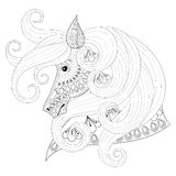 Hand drawn zentangle Ornamental Horse for adult coloring pages, Stock Photography