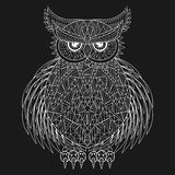 Hand drawn zentangle Owl, bird totem for adult Coloring Page in Stock Photography