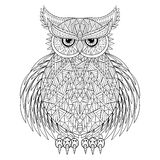 Hand drawn zentangle Owl Stock Images