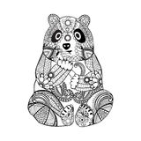 Hand drawn zentangle panda for coloring book for adult Royalty Free Stock Photo