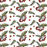 Hand drawn Zentangle pattern wiht romanberry. Hand drawn Zentangle pattern with rowanberry. Zen-tangle style. Background for cards, invitation, pattern fills Stock Images