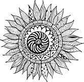 Hand drawn zentangle sunflowers ornament for coloring book Royalty Free Stock Images