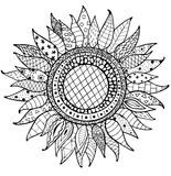 Hand drawn zentangle sunflowers ornament for coloring book Royalty Free Stock Photography