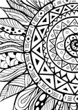 Hand drawn zentangle sunflowers ornament for coloring book Stock Image