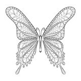 Hand drawn zentangle tribal butterfly pattern for adult anti str Royalty Free Stock Photo