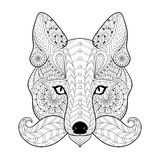 Hand drawn zentangle tribal Fox face for adult anti stress color Royalty Free Stock Photos