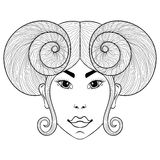 Hand drawn zentangle Zodiac sign Aries with girl face for adult. Coloring pages, post card, t-shirt print, Boho style.  illustration in doodle, henna tattoo Stock Photography