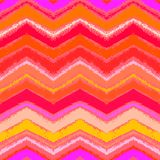 Hand drawn zigzag pattern in tropical coral red. Royalty Free Stock Images