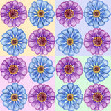 Hand-drawn zinnia seamless pattern Royalty Free Stock Image