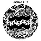 Hand drawn. Zodiac sign Aquarius. Vector illustration. Beautiful black and white hand drawn. Zodiac sign Aquarius. Vector illustration, zentangle style Royalty Free Stock Photography