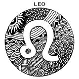 Hand drawn. Zodiac sign Leo. Vector illustration. Beautiful black and white hand drawn. Zodiac sign Leo. Vector illustration, zentangle style Stock Photography