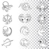 Hand Drawn Zodiac Signs Sketches isolated on a White Background stock illustration