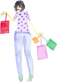 Hand drawn zombie woman shopping Stock Photo