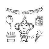 Hand-drawn zwart-wit mens van de aapverjaardag in een GLB vector illustratie