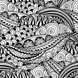 Hand-drawn zwart-wit naadloos patroon met abstracte golven, cirkels en bloemen Stock Fotografie