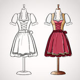 Hand drawndirndl dress on maneqiun. Silhouette and colored version Stock Photos