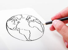 Hand drawning earth Stock Image