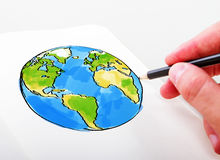 Hand drawning earth Royalty Free Stock Photography