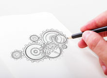 Hand drawning gears Royalty Free Stock Photo