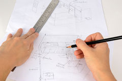 Hand is drawning sketch of the kitchen with pencil and ruler Royalty Free Stock Photography