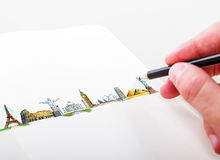 Hand drawning travel concept Royalty Free Stock Image